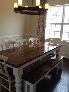 James+James 8 foot Turned Leg Baluster Table with endcaps stained in Vintage Dark Walnut with Ivory painted base. Pictured with matching Farmhouse bench and Sofia Dining chairs.