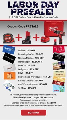 Labor Day Presale: Lowe's 11% OFF, Walgreens 12% OFF, TJ Maxx 18% OFF & More!