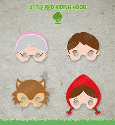 Little Red Riding Hood  Masks Printable for birthdays by elmarron, $5.99