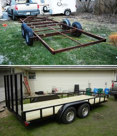 """My 16' tandem axle trailer project.  The rough frame was 16'-5"""", so I cut off 5"""" in order to use 16' lumber instead of having to purchase 18' lumber and cut it down."""