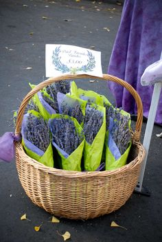 Lavender at our farmer's market   (Cute idea...love the contrast of lime tissue with lavendar!)