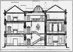 Plate 95: Carrington House, section and ground plan | British History Online