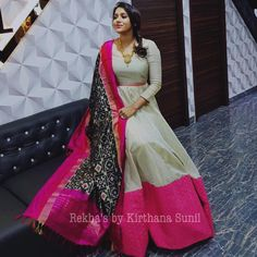 Lovely Rashmi Gautham in white color floor length dress with black color ikkat duppata designed by Kirthana Sunil. Choli Dress, Anarkali Dress, Lehenga, Sarees, Indian Designer Outfits, Designer Dresses, Long Gown Dress, Long Frock, Long Dress Design