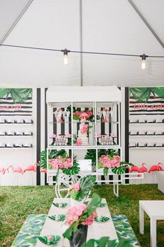 Dessert spread + partyscape from a Modern Flamingo Birthday Party on Kara's Party Ideas | KarasPartyIdeas.com (35)