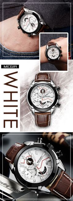 Men's luxury sport watches - Megir 2065 Leather band watch timepiece chronograph - men's top brand style affordable fashion accessories #menswatch #leatherwatch #watches #menswatchesleather #menswatchesfashion