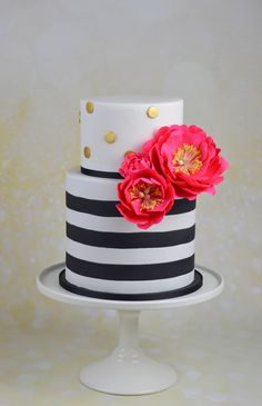 Kate Spade inspired baby shower cake with pink sugar peonies!