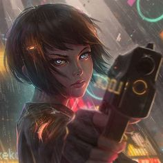 Ghost in the shell x blade runner x psychopass fanart  #fanart #drawing