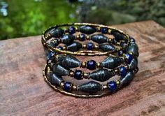 Black Gold & Blue Paper bead memory wire bracelet  by stillrain