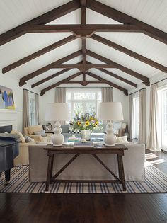 modern farmhouse living room wendy posard painted ceiling with wood beams? Diy Living Room Decor, Home Living Room, Living Room Designs, Home Decor, Cottage Living, Cozy Living, Wall Decor, Cottage Style, Wall Art
