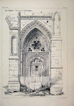 dating from the 13th and 14th century, Gothic doorway of the cathedral in Sées, Normandy, France - Architectural drawing c1870