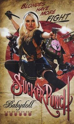 Propaganda-style poster for Sucker Punch: Emily Browning as Babydoll