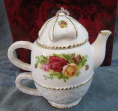 ~ Royal Albert Basket Weave Old Country Roses  Tea For One  Tea Pot Cup NEW Boxed ...