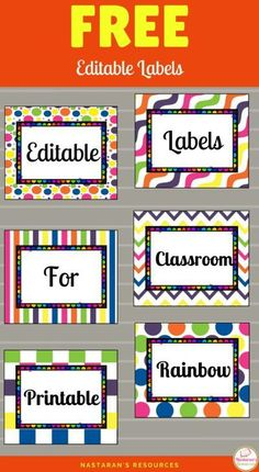 Free Editable Labels for classroom!