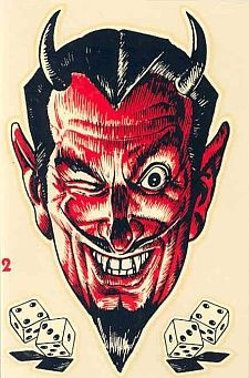 Devil an' Dice decal, mail-order item from Honest Charley's Speed Shop, 1960
