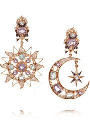 Percossi PapiSun and Moon gold-plated multi-stone earrings