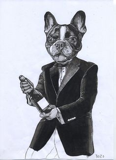 French Bulldog with Champagne Bottle / by TheDogPaintersStudio