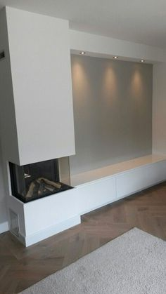 A gas fireplace with cabinet, tvcabinet Living Room Decor Fireplace, Home Fireplace, Modern Fireplace, Fireplace Design, Home Living Room, Living Room Designs, Living Room Inspiration, Home Renovation, Home Interior Design