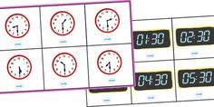 A time bingo set (o' clock), including boards and matching cards for both digital and analogue clocks. A fun way to reinforce key concepts and learn about time! Time Games, Time Activities, Teaching Activities, Teaching Math, Teaching Ideas, Ks1 Maths, Numeracy, Clock Games, Bingo Set