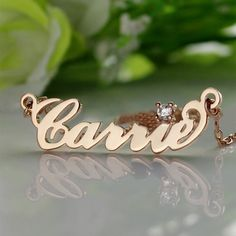 Rose Gold Carrie Style Name Necklace with One Birthstone