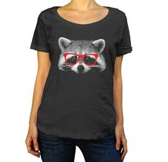 Women's Raccoon With Glasses Scoop Neck Shirt