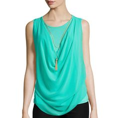 by&by Sleeveless Drape-Front Necklace Top - JCPenney
