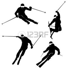 Four silhouettes of skiing persons Vector Winter Sports, Silhouettes, Vector Art, Skiing, Darth Vader, Stock Photos, Illustration, Fictional Characters, Inspiration