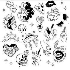 Flash Art Tattoos, Body Art Tattoos, Sleeve Tattoos, Kritzelei Tattoo, Doodle Tattoo, Piercing Tattoo, Piercings, Tattoo Sketches, Tattoo Drawings