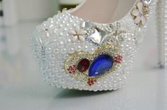 Pearls Beaded Wedding Shoes Women Pumps Diamond Rhinestones Bridal Shoes 3    https://www.lacekingdom.com/   Lace Kingdom: Everything You Need for #Weddings & Events