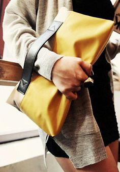 #Yellow Contrast Folded Clutch - Bag / Lookbook Store