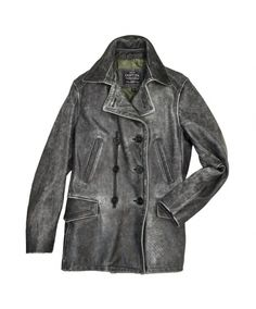 Distressed Leather Peacoat