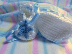 New Born Boy Booties For Summer or Christening With Blue Star Accents | Wyverndesigns - Children's on ArtFire