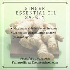 Ginger Essential Oil Profile including safety info. Essential Oil Safety, Ginger Essential Oil, Are Essential Oils Safe, Essentials, Health, Aromatherapy, Scrubs, Profile, Crystals