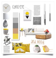 concrete and wood by levai-magdolna on Polyvore featuring interior, interiors, interior design, home, home decor, interior decorating, Lyon Béton, Scion, Clarissa Hulse and Design Within Reach