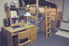 Teens Bedroom, Traditional Wooden Dorm Room Furniture Set With Loft Bed Aside Desk Plus Pyramid White Table Lamp Also Under Bed Fairy Lights Decor ~ Cool Dorm Room Idea in Creative Decoration Idea