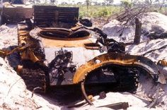 Operation Hooper. Angolan tank destroyed by South African forces.