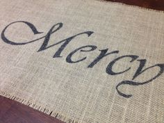 Grace Mercy & Peace burlap table runner by ThisJoyfulHomeetc (Home & Living, Kitchen & Dining, Linens, Table Linens, place mat, placemat, table setting, linen, cloth napkin, table runner, holiday, hostess, housewarming, gift, dining, decor, Christian)