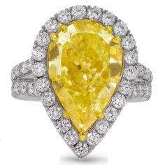 engagement ring with 6 carat Fancy yellow pear Shape center diamond. Pear Shaped Engagement Rings, Engagement Ring Photos, Diamond Engagement Rings, Nice Jewelry, Jewlery, Diamond Rings, Gemstone Rings, Right Hand Rings, Rare Gemstones