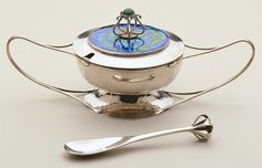 Charles Robert Ashbee silver and enamel mustard pot and spoon (c1900?)