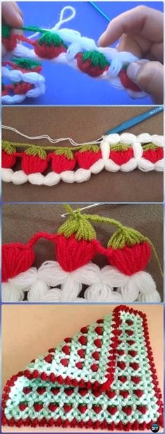 Crochet Puff Strawberry Stitch Free Pattern-Crochet Strawberry Stitch Free Patterns Collection of Crochet Strawberry Stitch Free Patterns: Crochet Bobble Strawberry Stitch; Crochet Puff Flower, Crochet Flower Patterns, Crochet Stitches Patterns, Crochet Flowers, Knitting Patterns, Knitting Stitches, Crochet Edgings, Free Knitting, Crochet Butterfly