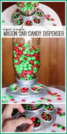 make your own mason jar candy dispenser - such a cute holiday craft idea! - - Sugar Bee Crafts