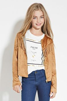 Girls Fringed Faux Suede Jacket (Kids)