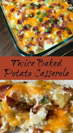 Twice Baked Potato Casserole : Do you love twice baked potatoes, but need an easier way to make them? This Twice Baked Potato Casserole is packed with delicious flavors and can be made much more quickly than traditional twice baked potatoes. Healthy Casserole Recipes, Potatoe Casserole Recipes, Healthy Recipes, Quick Potato Recipes, Loaded Potato Casserole, Casserole Ideas, Potato Caserole, Delicious Recipes, Tasty