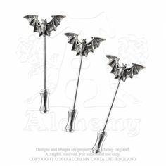 Alchemy Gothic DP3 Bat Dress Pins  Three identical dress pins tipped with a small, pewter bat.