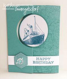 Stampin' Up! Circle Card Thinlit, World Map, Six-Sided Sampler, Hexagon Punch Flip Card created by Kathryn Mangelsdorf Birthday Cards, Happy Birthday, Flip Cards, Travel Cards, Stampin Up Catalog, Lawn Fawn, Masculine Cards, Stampin Up Cards, Punch