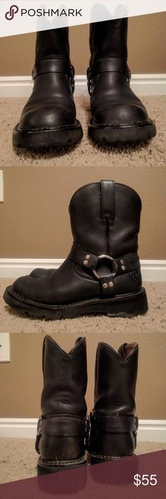 Ariat fatbaby  Moto boots EUC Work maybe twice, bought too many. Will be wiped down before shipping. Ariat Shoes Combat & Moto Boots