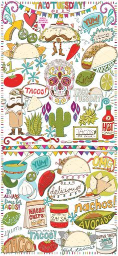 Mexican Food Clip Art -Taco Tuesday! Vector & PNG Artwork by Carrie Stephens Art on @creativemarket