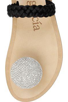 Pedro Garcia     Zelda Swarovski crystal-embellished braided satin sandals~ Pedro Garcia