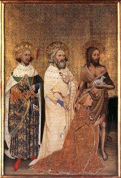 El Rey Ricardo II es encomendado a la Virgen, Parte izquierda del Díptico de Wilton, hacia 1395, National Gallery de Londres.
