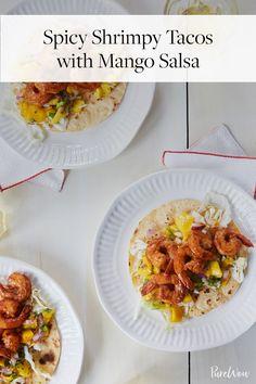 Spicy Shrimp Tacos with Mango Salsa via @PureWow