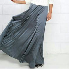 Satin maxi skirt Gray satin maxi skirt with side zipper closure Skirts Maxi